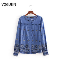 VOGUEIN New Womens Fashion Casual Embroidered Blue Long Sleeve Blouse Tops Shirt
