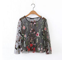 Black Blouse Fashion Embroidered Transparent Sexy Mesh Female Blouses