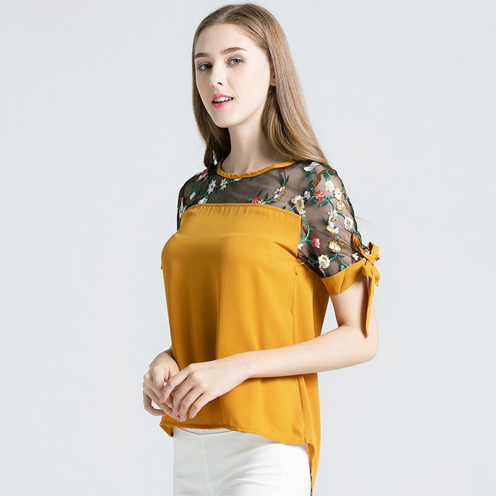women clothes 2019 Short-sleeved blouse female Solid color Slim-fit embroidered chiffon