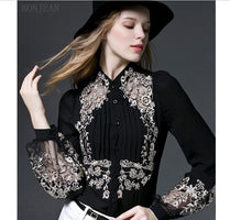Blusas Woman Sleeve Spring New Style Embroidered Lantern Blouse Shirt Loose