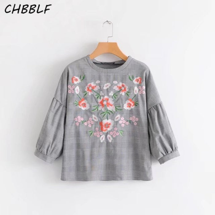women flower embroidered gray bottoming blouse shirts fashion lantern
