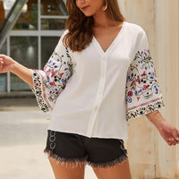 Cotton and linen casual top Shirt blouse tops Summer fashion early autumn Women