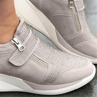 Laamei 2019 New Flock High Heel Lady Casual Women Sneakers Leisure Platform Shoes Breathable Height Increasing Shoes Sneakers