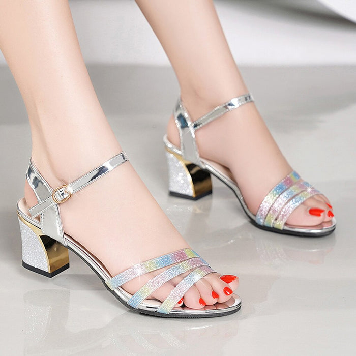 YOUYEDIAN Summer Peep Toe Shoes Suqare Heels Woman Buckle Strap Sandals Pump Ladies Zapatos Bling Office Sandalias Mujer 2019#35