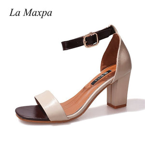 La MaxPa Women's Strappy Chunky Block High Heel Wedding Party Simple Classic Pump Sandals Square Thick Heel Big Size 35 40 41 42