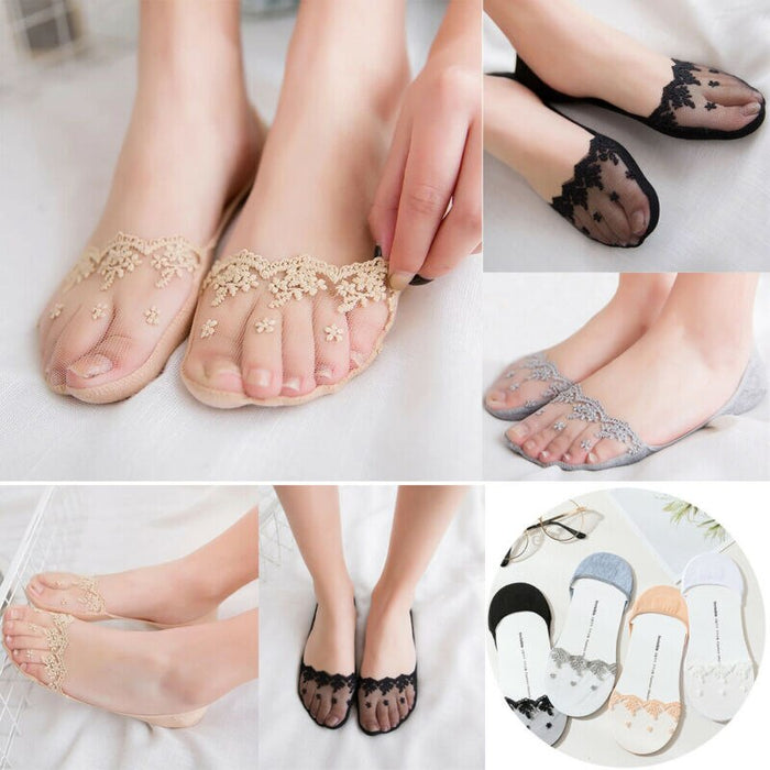 2019 Lace Invisible Socks Ladies Women Cotton Footsie Shoe Liner Boat Socks Anti-slip Liner Slipper Graceful Elastic Jacquard
