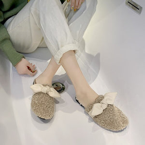 New Fashion Women Slippers Bow Knot Warm Plush Mules Winter Faux Fur Slides Slip On Casual Flat Shoes Woman Furry Flip Flops