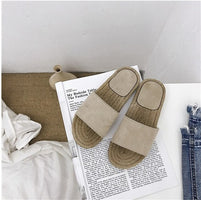 Ins Solid Shoes Summer Women Mules Soft Suede Outside Indoor Slippers Korean Style Beach Rubber Slides Babouche Casual Slip On