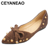 CEYANEAO New For Women Sequined Cloth Slip-on Sneakers Adorable Fashion Shoes with Rivet Bow Women Pointy Toe Ballerina Flats