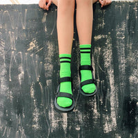 Women Casual Crew Socks Cool Girls Striped Socks Fashion Neon Color