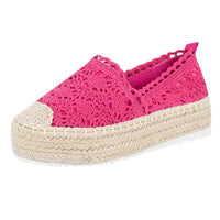 Flat Shoes Women's Hollow Platform Casual Shoes Solid Color Breathable Wedge Espadrilles Fashion Casual Style For Ladies Women