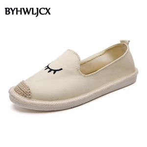 2019 summer ladies flat shoes embroidered eye pattern women's espadrilles rubber soles with linen toe casual fashion loafers
