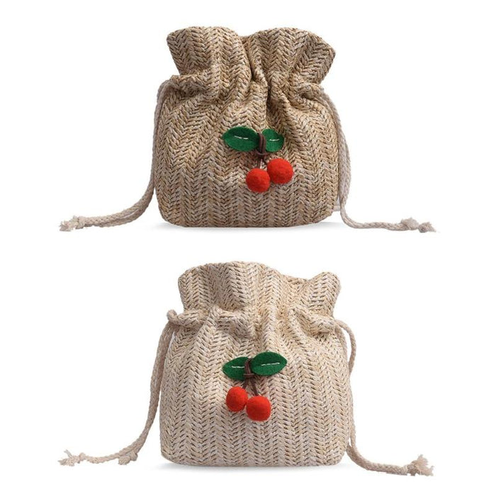 Straw Cherry Bucket Crossbody Shoulder Bags Women Beach Drawstring Pouch