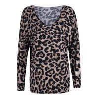 Fashion Animal Leopard Printed Loose Blouse Women Sexy Long Sleeve V Neck