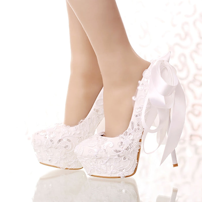Women Wedding Shoes High Heels White Bridal Shoes Stiletto Platform Pumps Lace Ribbon Bow Ladies Sexy Party Shoes Women Footwear