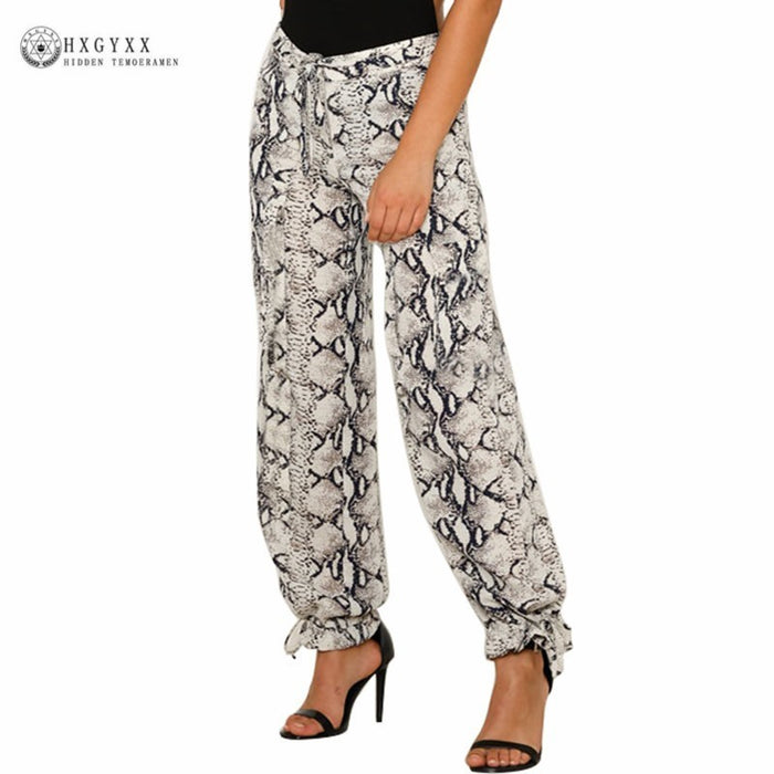 Sexy Animal Print Pants High Waist Sashes Satin Long Women Wide Leg Pant Capris