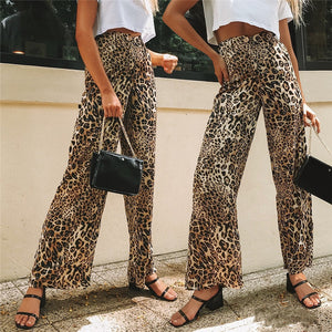 Women Leopard Print Wide Leg Long Pants High Waist Casual Loose Flared Trousers