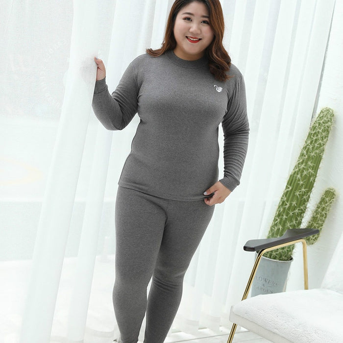 UIECOE Plus Size Thermal Underwear for Women Cotton Long Johns Set Ultra-Soft Base Layer Top & Bottom 2 Piece Set 3XL-7XL