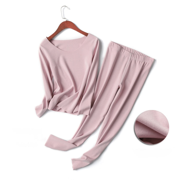 Women Sexy Long Johns Set Winter Pink Thermal Underwear Warm Layered Pajamas Thermos Female Bodysuit Clothes 2018 Autumn Fashion