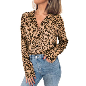 Winter Plus Size Loose Leopard Blouse Women 2019 V Neck Long Sleeve Casual