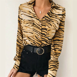 Fashion Leopard Animal print Tops Women ladies long sleeve Stylish Casual Button