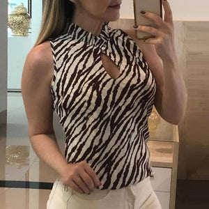 Womens Tops Ladies Summer Animal Fashion Printed Clubwear Tanks Button Blouse