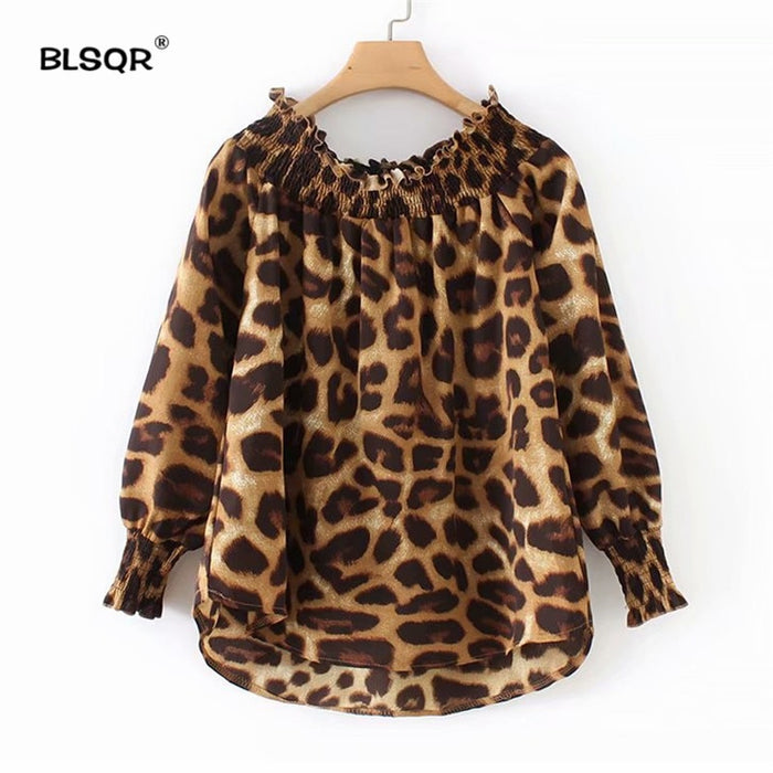 Women Slash Neck Leopard Print Blouse Animal Pattern Long Sleeve Pleated Shirts