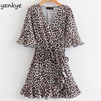 Summer Dress 2019 Women Butterfly Sleeve Vintage Animal Print Dress