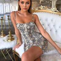 Leopard Print Sexy Dress Women Autumn Sleeveless V-Neck Loose Mini Bodycon Dress