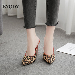 BYQDY Fashion Suede Leopard Women Shoes High Heels Office Pumps Shoes Women