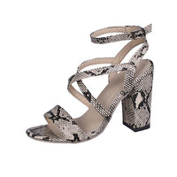 Snake Women Summer Sandals Open Toe PU Leather Shoes Woman Buckle Strap Ladies