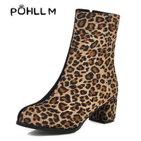 Women's Boots and Ankle Boots new leopard print color round head shoes winter