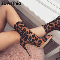 ZawsThia Leopard Animal Print Ankle Boots Spring Autumn Thin Heels Ponite