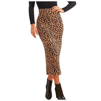 2019 Women Sexy Casual Leopard High Waist Skirt Evening Party Long Skirt Ruffle Animal