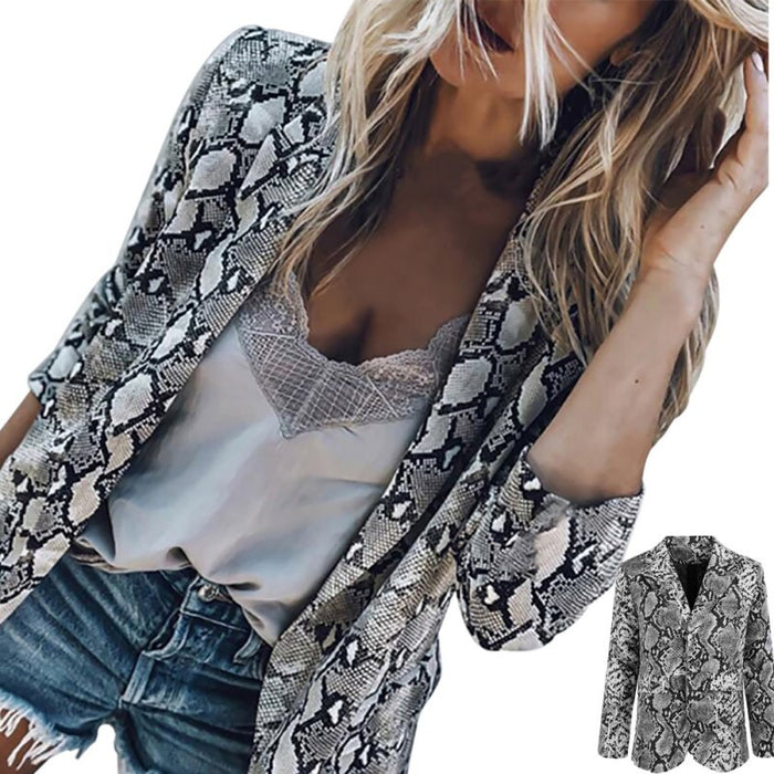 Autumn Fashion Slim Fit Women Formal Jackets Long Sleeve Office Work snake Printing