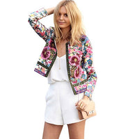 Women Autumn Summer Jacket Female Long Sleeve Coat Floral Printed Casual Jackets