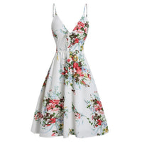 Dress Women Floral Printed Camis V-Neck Party Dress Sleeveless Flower