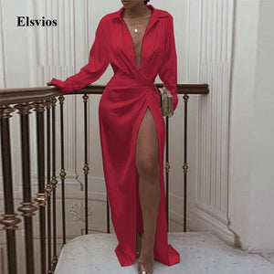 Elsvios Sexy Women High Slit Party Dress Autumn Female Long Sleeve Maxi Dress