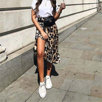 Sexy Women's Short MIni Skirt Leopard Print High Waist Asymmetry Cocktail Party