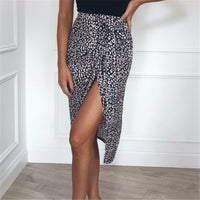2019 Spring Summer Women's Skirts Sexy High Waist Leopard Print Skirts Casual Knee