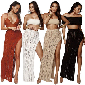 2019 Women's Knit Beach Skirt Sexy Cutout Knee Half-length Skirt Fashion Openwork