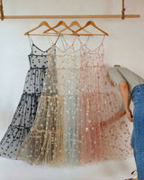 Womens Sexy See Through Clear Stars Mesh Sheer Maxi Star Dress Bikini Cover Up