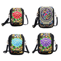 Bag Embroided Mobile Phone Bag Vintage Printed Cross Body Bag Handmade