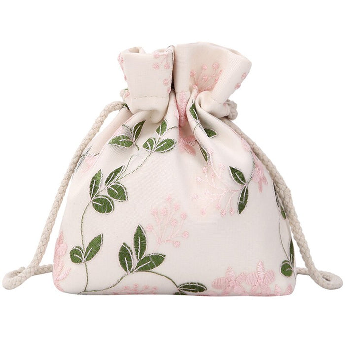 Embroidered Flower Bucket Bag Handbag Cute Girl Shoulder Messenger Bag