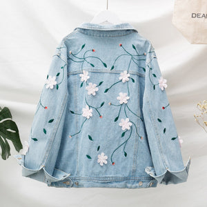Fat Size Female Dress Fat Sister Fashionable Slender Flower Embroidered Jean Jacket