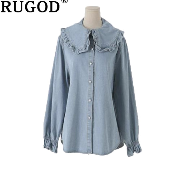 RUGOD 2019 spring jeans shirts office wear Fashion flare sleeve peter pan collar blue blouse sweet school tops blouses female