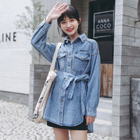 Women tops and blouses denim blouse shirt with belt long sleeve loose jeans outwear 2019 autumn fashion Korean style clothes