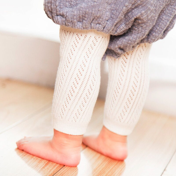 Newborn Baby Girls Pants Toddler kids Girls Cotton novelty casual  hollow knitted leggings Outwear Dresses Underwear