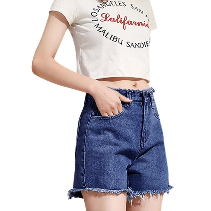 Short femininoHigh Waist Denim Shorts Fashion Tassel Pockets Wide Leg Shorts Female Solid Color Casual Short Jeans For Women