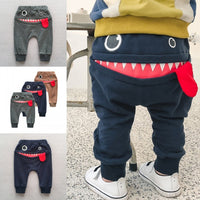 2019 Hot Cartoon Full Length Pants Cotton Toddler Warm Blue Grey Pants Newborn Casual Trousers Elastic Waist Pants For Baby Boys